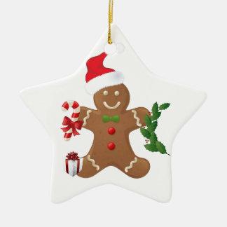 Star Christmas Ornament, Gingerbread Man Ceramic Star Ornament