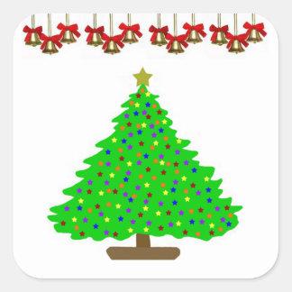 Star Christmas Tree Square Sticker