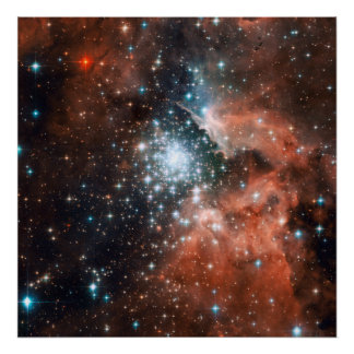 Star cluster bursts into life in new Hubble image Poster