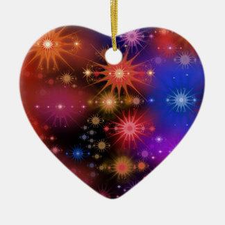 Star Clusters Ceramic Heart Ornament