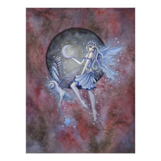 Star Collector Fairy and Owl Fantasy Art Poster
