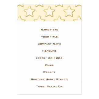 Star Cookies Pattern. Cream and Yellow. Large Business Card