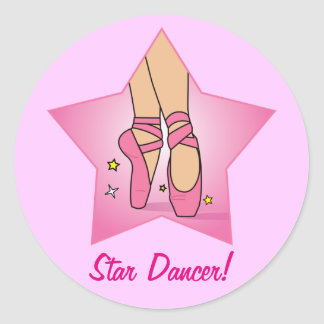 Star Dancer with Ballet Shoes Classic Round Sticker