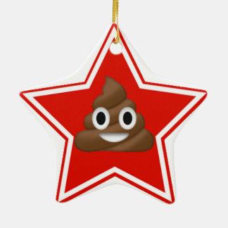 Star Emoji Poo Dble-Sided Ceramic Ornament