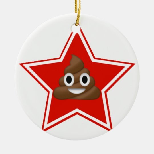 Star Emoji Poo Dble-sided Ornament