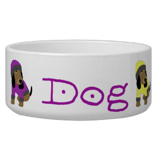 Star eye cute dressed puppy dog bowl