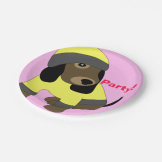 Star eye cute dressed puppy dog party paper plates 7 inch paper plate