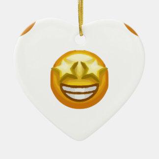 star eyes emoji ceramic heart ornament