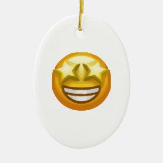star eyes emoji ceramic oval ornament