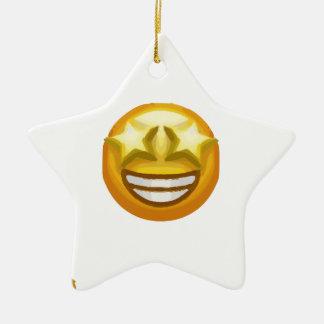 star eyes emoji ceramic star ornament