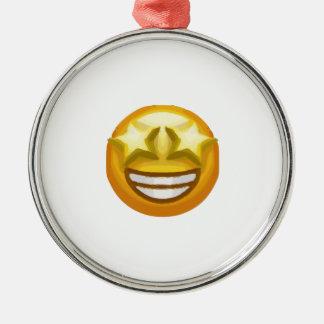 star eyes emoji Silver-Colored round ornament