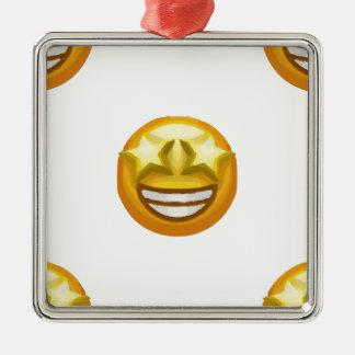 star eyes emoji Silver-Colored square ornament