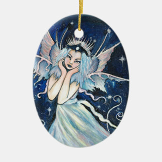 Star Faery Double-Sided Oval Ceramic Christmas Ornament
