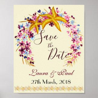 Star-fish Nautical Floral Elegant Poster