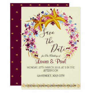Star-fish Nautical Floral Elegant Save the Date Card