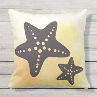 Star Fish Silhouette on Yellow Outdoor Pillow