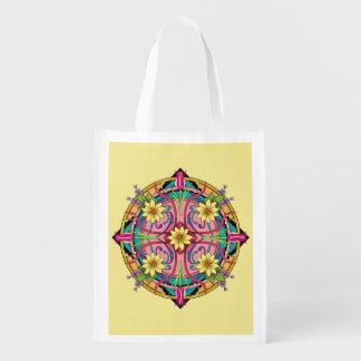 """Star Flower"" Hand drawn line artwork Reusable Grocery Bag"