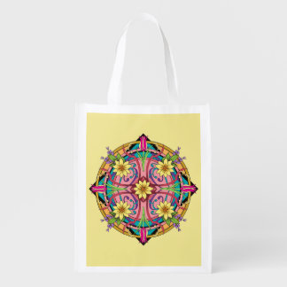 """Star Flower"" Hand drawn line artwork Reusable Grocery Bags"