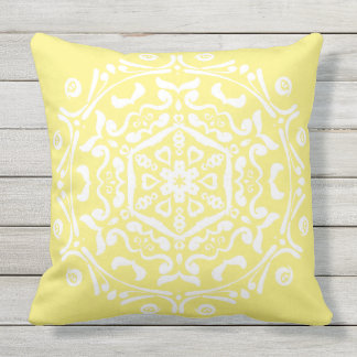Star Fruit Mandala Outdoor Pillow