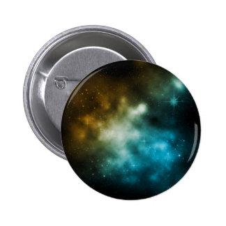 Star Galaxy Nebulae Blue Gold 2 Inch Round Button