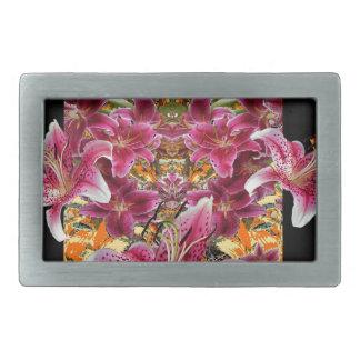 star gazer lilies floral art belt buckle