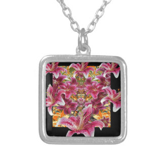 star gazer lilies floral art silver plated necklace