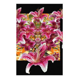 star gazer lilies floral art stationery