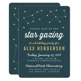 Star Gazing Kids Birthday Party Invitation
