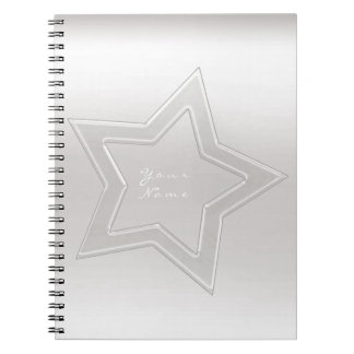 Star Glass Ombre White Gray Silver Minimal Notebook