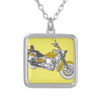 Star Gold Bike Silver Plated Necklace