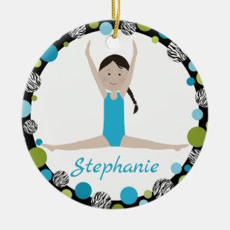 Star Gymnast Black Braid in Aqua and Green Ceramic Ornament