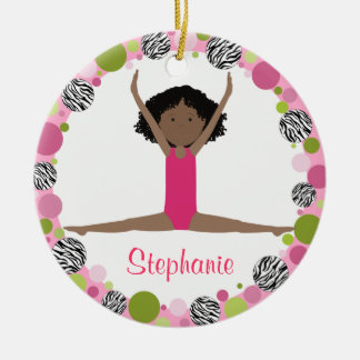 Star Gymnast Black Hair in Pinks Personalized Ceramic Ornament