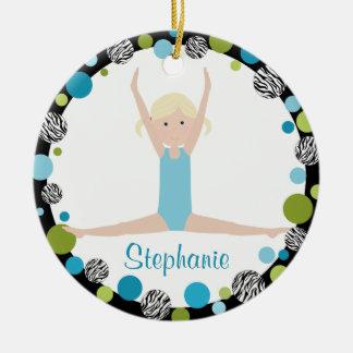 Star Gymnast Blonde in Aqua and Green Ceramic Ornament