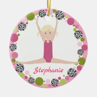 Star Gymnast Blonde Pony Tails in Pinks Ceramic Ornament