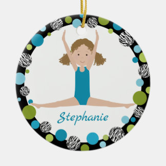 Star Gymnast Curly Hair in Aqua and Green Ceramic Ornament