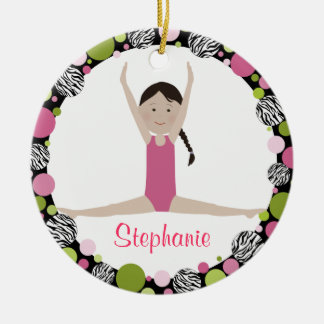 Star Gymnast Dark Brown Hair Pinks Ceramic Ornament