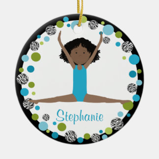 Star Gymnast in Aqua and Green Personalized Ceramic Ornament