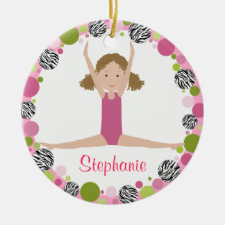 Star Gymnast in Pinks Curly Hair Ceramic Ornament