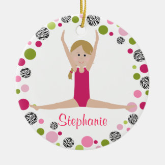 Star Gymnast in Pinks Personalized Round Ceramic Ornament