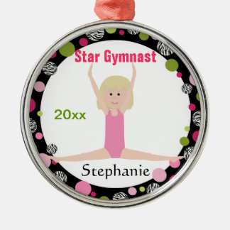 Star Gymnast Keepsake Pink and Green Metal Ornament