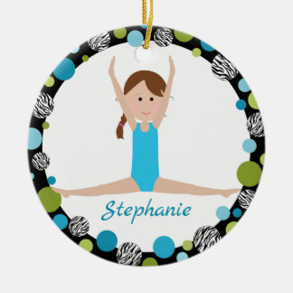 Star Gymnast with Brown Braid in Aqua and Green Ceramic Ornament
