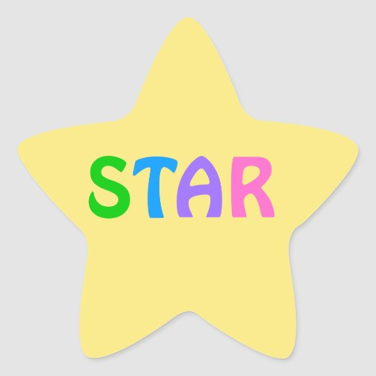 STAR in Colourful Lettering on Yellow Background Star Sticker