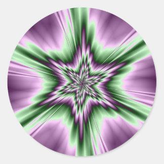 Star in Purple and Green  Round Sticker