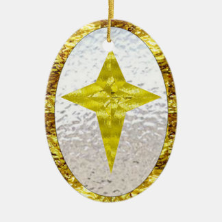 Star in Stained Glass Ceramic Ornament