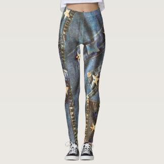 Star jeans leggings