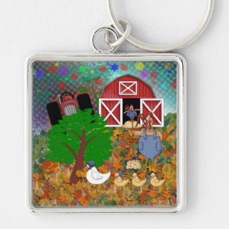 Star Light Farms Silver-Colored Square Keychain