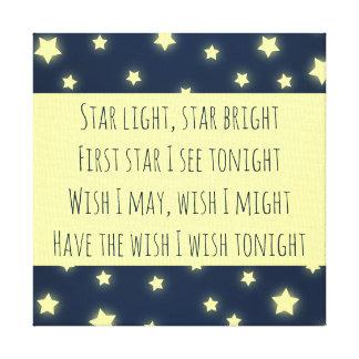 Star Light, Star Bright Baby Shower Nursery Canvas Print