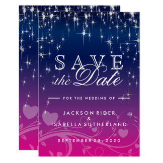 Star Lights in Dark Blue and Pink - Save the Date Card