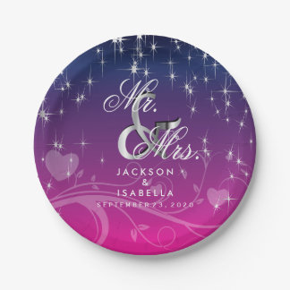Star Lights in Dark Blue and Pink Wedding Paper Plate