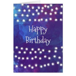 Star Lights on Cobalt Blue Birthday Card